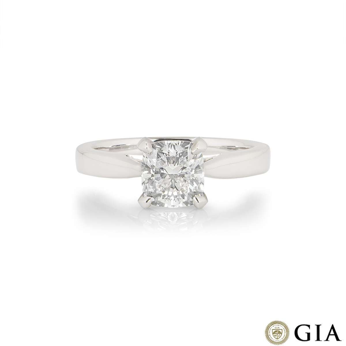 Platinum Cushion Cut Diamond Ring 1.51ct H/VS1